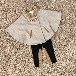 Trendy baby girl fur poncho and leggings outfit